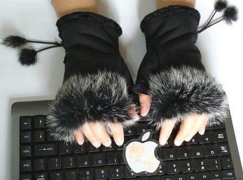 Free shipping Fashion Glove mitten real rabbit hair winter glove for keyboard