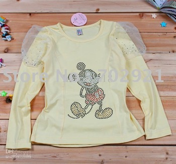 Girls T-shirt   Free Shipping Girls T-shirt PKY Mickey hot drill cotton bottoming shirt Free Shipping