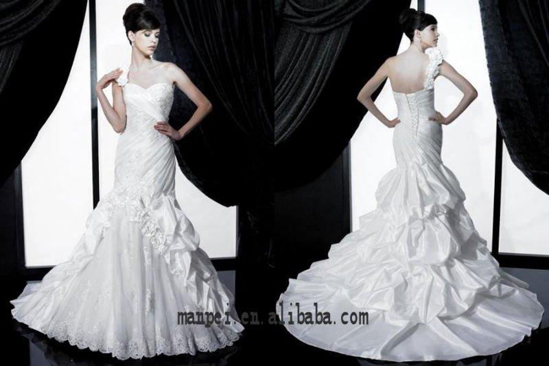 lindo um ombro sereia babados casamento cauda vestido de noiva , MPW -132(China (Mainland))