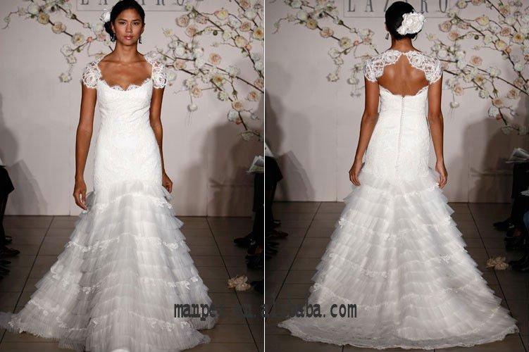 fabuloso cut-out de volta appliqued babados sereia cauda de casamento vestido de noiva , MPW -129(China (Mainland))