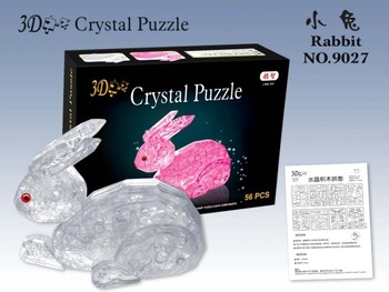 free shipping!!! DIY 3D Crystal intellective Puzzle, children jigsaw, kids toy, Rabbit shape