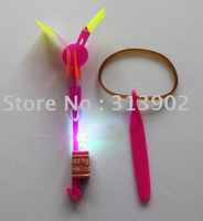 Led flying umbrella, LED Lighted Up Toy Arrow Helicopter Space Flaying Promotional Gifts Night playing toy 50pcs