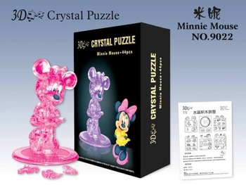 free shipping!!! DIY 3D Crystal intellective Puzzle, children jigsaw, kids toy, Minnie shape
