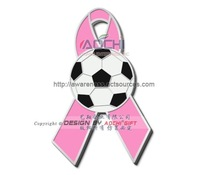 Free Shipping Newest Best Selling High Quality Breast Cancer Awareness Soccer Pink Ribbon Lapel Pins