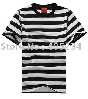 Fashion men's striped cotton t shirt  Free shipping