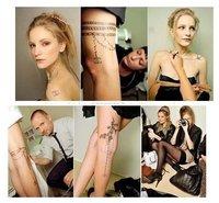 Tattoo sticker ,2011 New Arrival temporary sticker,Waterproof  fake tattoo chain bird pearl flower design skin  + free shipping