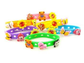 Lot 120pcs New Kids Silicone Rubber Bracelets  Bangles Cartoon Multi-Colored Wristbands SRB002