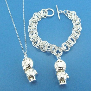 Wholesale New Fashion Model charm Doll 925 Sterling Silver jewelry sets necklace/bracelet Free Shipping