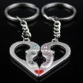HOT SELLING Double Heart Couple Key Chains Lover Key Ring Birthday Gift 60pairs/ Lot Free Shipping