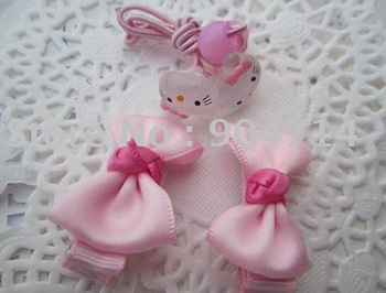 hello kitty kids hair accessories 4pcs sets/baby hairwear sets/kids hairpin &clip set/2pcs hair clips+2pcs hair rope/.4color