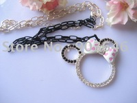 New Arrived LOT12pcs Free shippment Minnie Mouse Pendant  Long NECKLACE