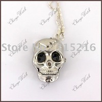 Skull Clock Pocket Necklace Pendant Watch    Clock free shipping  wholesale/Retail
