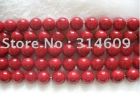 Free Shipping Hot Sale A Shell Pearl Bracelet Beads Red/Round 18mm 16""