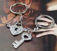 HOT SELLING Artificial Diamond Decorated Lover Keyring Metal Key chain Gift Set Valentines Gift 60pairs/Lot Free Shipping