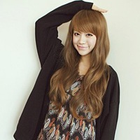 Free shipping Light Brown Neat Bang Light wave Cosplay Fashion Lady Women Wig Hot Sell Wigs