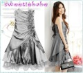 Wholesale Sweetiebabe uniquely-designed S08 Fashion Ruffle Flower Double Spaghetti Straps Prom Dress Gray  L