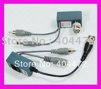 10 pair free shipping CCTV Video Audio Power Balun BNC Cat5 Transceiver