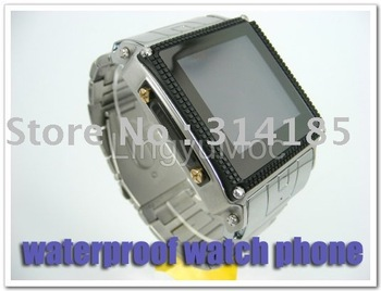 2011 Freeshipping Stainless Steel Waterproof wrist cell watch phone W818 ( quad band+1.5''+2.0MP camera+2.0 Bluetooth+FM)