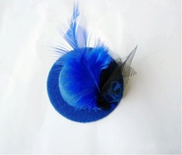 FREE SHIPPING fashion mini top hats,6colors hot pink,purple,black,blue,pink,red Ladies hair clips,hair accessory