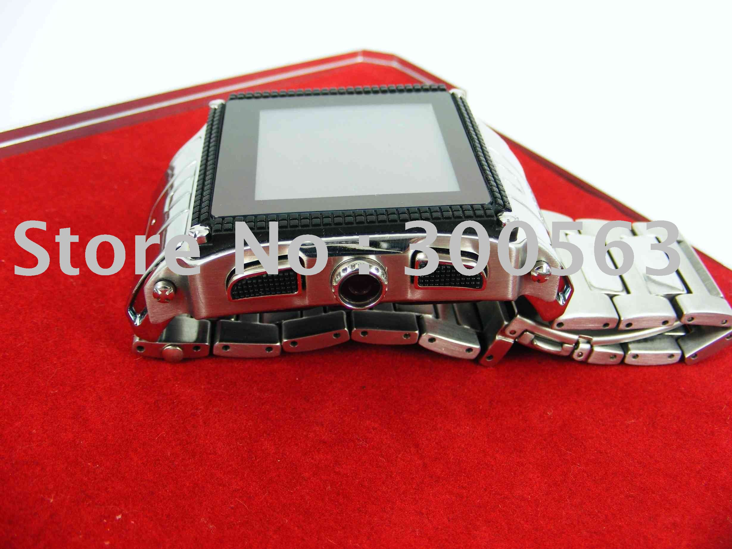 free shipping Waterproof watch mobile phone.GPRS,Bluetooth,Video,MP3,MP4,Games,FM,E-books,camera,Stainless Steel.(China (Mainland))