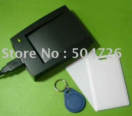 125KHz USB RFID Reader + 10 Blank Tags/Clamshell cards(China (Mainland))