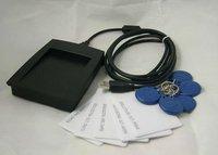Free Shipping USB RFID Reader 125KHz EM Proximity + 5 Clamshell ID Cards + 5 Keyfob Access Control Staff Membership Management