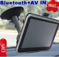 Free shipping Hot sell 7 Inch Car Navigator GPS with Bluetooth, AV IN, Fm transimitter window CE 4GB card(China (Mainland))