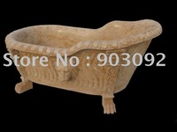 Granite/Marble/Limestone Carved bathroom tub custom by your design is available!resale&wholesale yellow marble art bathtub