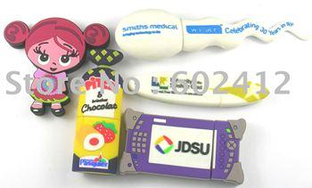 Hot selling customised design usb flash drive 2GB PVC usb stick free shipping