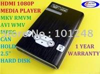 "10pcs/lot 1080P Full HD HDMI Media Player 2.5""HDD HDTV MKV RMVB AT-M011 free shipping airmail"