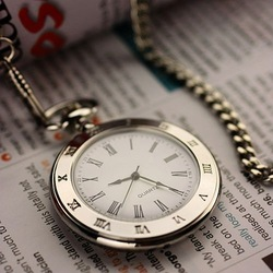 WP018 New Mens Stainless Steel Case White Dial Roman Numbers Modern Pocket Watch with Chain(Hong Kong)