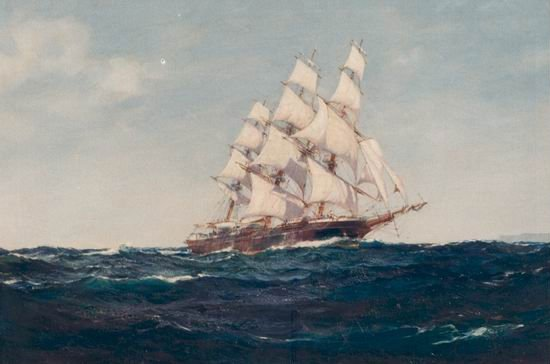 Clipper Ship JAMES BAINES off St. Vincent MONTAGUE DAWSON 100% Hand Painted Oil Painting Repro Museum Quality Gift(China (Mainland))