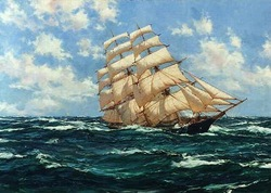 Fair Weather - The Boston Clipper MONTAGUE DAWSON 100% Hand Painted Oil Painting Repro Museum Quality Gift(China (Mainland))