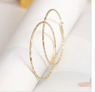 Monocylic bamboo decorative pattern big circle exaggeration earrings(China (Mainland))