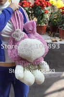 Guaranteed 100%Free shipping rabbit bag Hot selling! my melody pvc wire bag crystals decorate handbag shoulder bag(size:L)