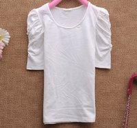 Free Shipping,2011 Newest Summer Fashion,Wholesale Women's Short Sleeve Sexy Shirts,White Bubble sleeve Ladies T-Shirt ST0105