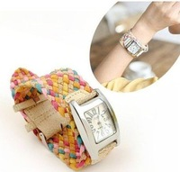 Наручные часы Sales Lady's PU Leather hand-weaved Watches 7 Colors Hot Sale