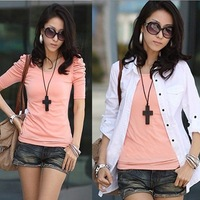 Free Shipping,2011 Newest Summer Fashion,Wholesale Women's Short Sleeve Sexy Shirts,Orange Bubble sleeve Ladies T-Shirt ST0110