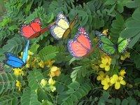 Ваза 90pcs/lot 7cm Vivid Wiggling PVC Colorful Butterfly w Metal Stem Home Garden Flower Pot Vase Decoration Business Gift