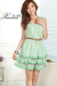 Hotsale retail Pretty beads ruffle Summer sun dress lady skirts free shipping
