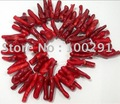 UNIQUE RED CORAL BAMBOO BRANCH Loose Beads 15.5&quot;L