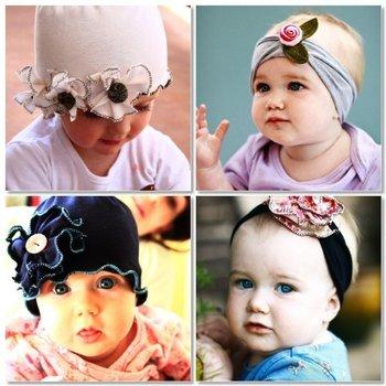 Top Baby hats headband barrette headgear kids berets chapeau dicer beanie hair clips --CL693A