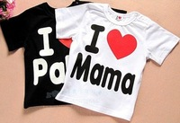 20pcs Baby short sleeve shirt top clothes i love mama papa shirts tops children clothing wears out wear