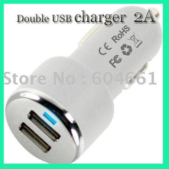 Double USB interface car-mounted charger double USB car charger 2A car-mounted charger(China (Mainland))