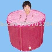 Portable plastic bath tub with cover