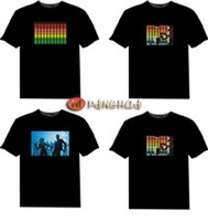 wholesale,LED T shirt,Music T-shirts, voice-activated T shirt, 100% cotton SOUND-ACTIVATED DJ DISCO DANCING,El T shirt