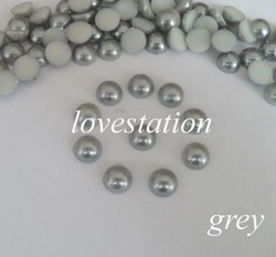 Free Shipping ! Grey 1000pcs/bag 8mm Half Round ABS Imitational Pearls Beads Scrapbooking Jewelry Garment Accessories(China (Mainland))
