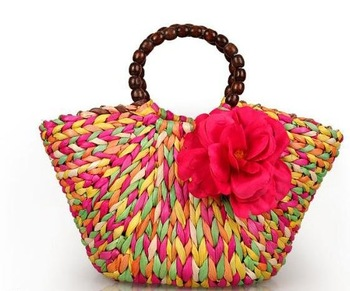s008 Lady's Straw Hand bag Hot sale Flower Design Free shipping 1PC Wholesale and Retail !
