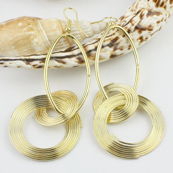 Ladies Stylish Double Rings 18K Gold Plated Earrings, Fashion Dangle Jewellery Earring, Accept Mix Order/Wholesale/Paypal(China (Mainland))