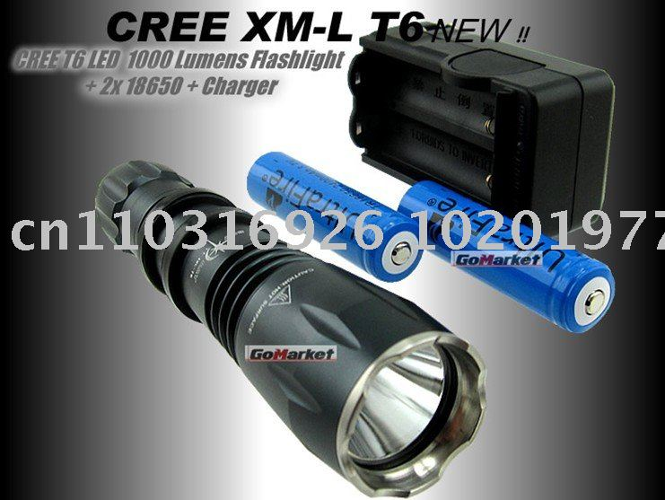 Brand New style 1000 Lumen CREE XM-L T6 LED Flashlight Torch +18650 battery+Charger(China (Mainland))